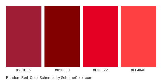 Random Red - Color scheme palette thumbnail - #9F1D35 #820000 #E30022 #FF4040