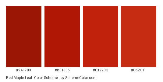 Red Maple Leaf - Color scheme palette thumbnail - #9a1703 #b01805 #c1220c #c62c11