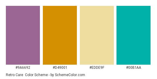 Retro Care - Color scheme palette thumbnail - #9a6692 #d49001 #edde9f #00b1aa