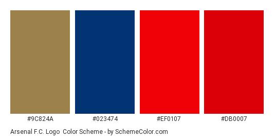 Arsenal F.C. Logo - Color scheme palette thumbnail - #9c824a #023474 #ef0107 #db0007