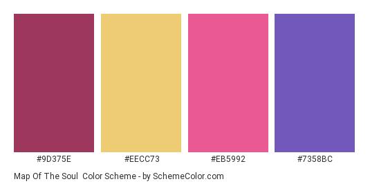 Map of the Soul - Color scheme palette thumbnail - #9d375e #eecc73 #eb5992 #7358bc