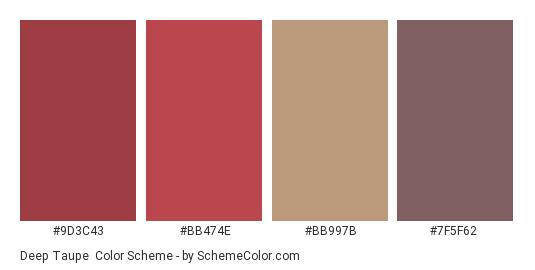 Deep Taupe - Color scheme palette thumbnail - #9d3c43 #bb474e #bb997b #7f5f62