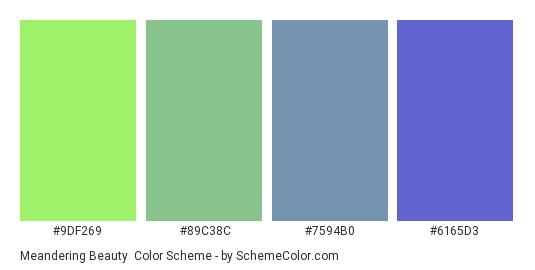 Meandering Beauty - Color scheme palette thumbnail - #9df269 #89c38c #7594b0 #6165d3