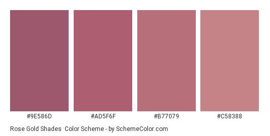 Rose Gold Shades - Color scheme palette thumbnail - #9e586d #ad5f6f #b77079 #c58388