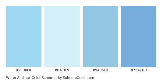 Water and Ice - Color scheme palette thumbnail - #9ed8f0 #d4f1f9 #94c6e3 #75aedc
