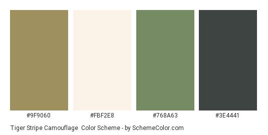 Tiger Stripe Camouflage - Color scheme palette thumbnail - #9f9060 #fbf2e8 #768a63 #3e4441