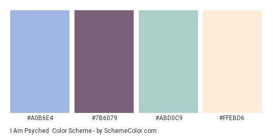 I am Psyched - Color scheme palette thumbnail - #A0B6E4 #7B6079 #ABD0C9 #FFEBD6