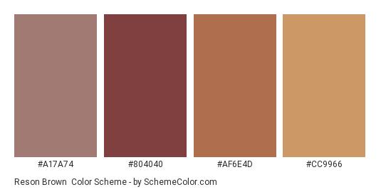 Reson brown - Color scheme palette thumbnail - #A17A74 #804040 #AF6E4D #CC9966