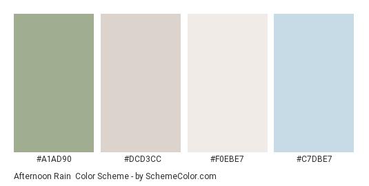 Afternoon Rain - Color scheme palette thumbnail - #A1AD90 #DCD3CC #F0EBE7 #c7dbe7