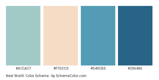 Next World - Color scheme palette thumbnail - #A1CAC7 #F7DCC5 #549CB5 #286486