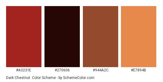 Dark Chestnut - Color scheme palette thumbnail - #A3231E #270606 #944A2C #E7894B