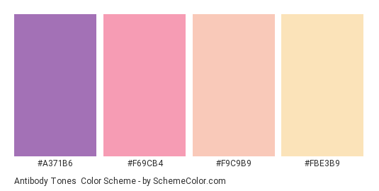 Antibody Tones - Color scheme palette thumbnail - #A371B6 #F69CB4 #F9C9B9 #FBE3B9