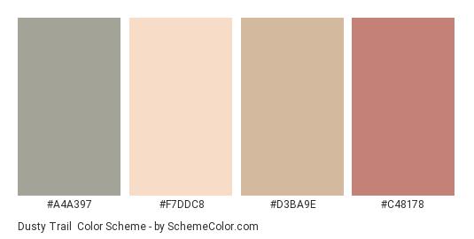 Dusty Trail - Color scheme palette thumbnail - #A4A397 #F7DDC8 #D3BA9E #C48178