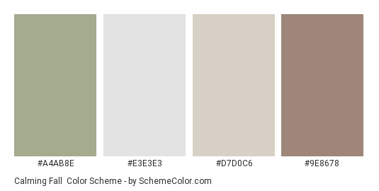 Calming Fall - Color scheme palette thumbnail - #A4AB8E #E3E3E3 #D7D0C6 #9E8678