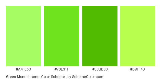 Green Monochrome - Color scheme palette thumbnail - #A4FE63 #70E31F #50BB00 #B8FF4D