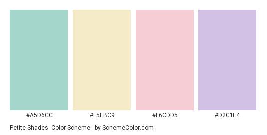 Petite Shades - Color scheme palette thumbnail - #A5D6CC #F5EBC9 #f6cdd5 #d2c1e4