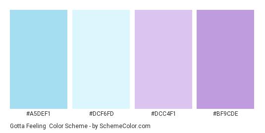 Gotta Feeling - Color scheme palette thumbnail - #A5DEF1 #DCF6FD #DCC4F1 #BF9CDE