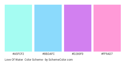 Love of Water - Color scheme palette thumbnail - #A5FCF2 #8BDAFC #D280F0 #FF9AD7