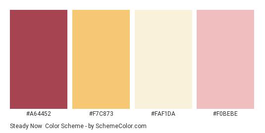 Steady Now - Color scheme palette thumbnail - #A64452 #F7C873 #FAF1DA #F0BEBE