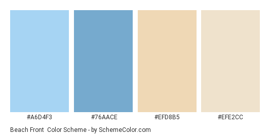 Beach Front - Color scheme palette thumbnail - #A6D4F3 #76AACE #EFD8B5 #EFE2CC