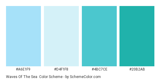 Waves of the Sea - Color scheme palette thumbnail - #A6E1F9 #D4F1F8 #4BC7CE #20B2AB