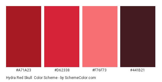 Hydra Red Skull - Color scheme palette thumbnail - #A71A23 #D62338 #F76F73 #441B21