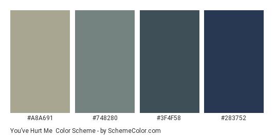 You've Hurt Me - Color scheme palette thumbnail - #A8A691 #748280 #3F4F58 #283752