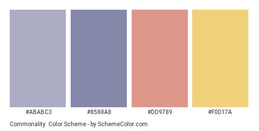 Commonality - Color scheme palette thumbnail - #ABABC3 #8588A8 #DD9789 #F0D17A
