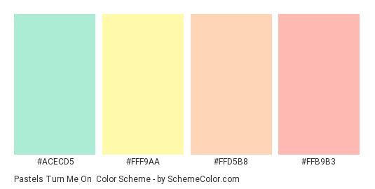 Pastels Turn Me On - Color scheme palette thumbnail - #ACECD5 #FFF9AA #FFD5B8 #FFB9B3