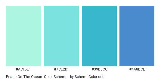 Peace on the Ocean - Color scheme palette thumbnail - #ACF5E1 #7CE2DF #39B8CC #4A8BCE