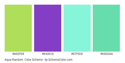 Aqua Random - Color scheme palette thumbnail - #AEDF58 #843EC6 #87F5D8 #66DDAA