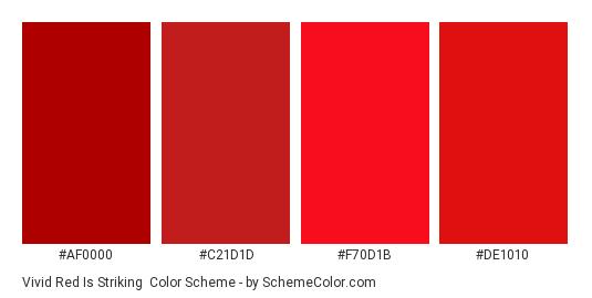 Vivid Red is Striking - Color scheme palette thumbnail - #AF0000 #C21D1D #F70D1B #DE1010