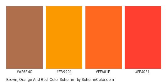 Brown, Orange and Red - Color scheme palette thumbnail - #AF6E4C #FB9901 #FF681E #FF4031