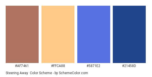 Steering Away - Color scheme palette thumbnail - #AF7461 #FFCA88 #5871E2 #21458D