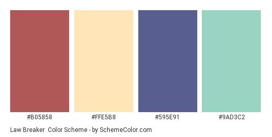 Law Breaker - Color scheme palette thumbnail - #B05858 #FFE5B8 #595E91 #9AD3C2