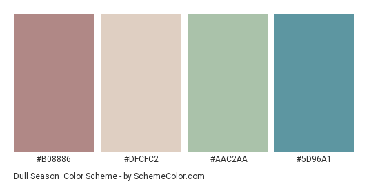 Dull Season - Color scheme palette thumbnail - #B08886 #DFCFC2 #AAC2AA #5D96A1