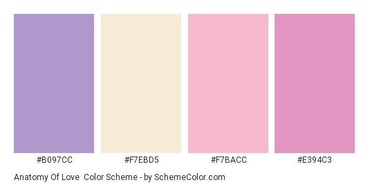Anatomy of Love - Color scheme palette thumbnail - #B097CC #F7EBD5 #F7BACC #E394C3