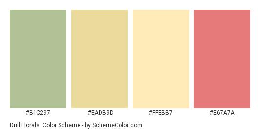 Dull Florals - Color scheme palette thumbnail - #B1C297 #EADB9D #FFEBB7 #E67A7A