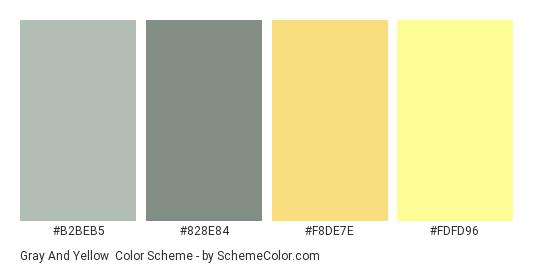 Gray And Yellow Color Scheme Palette Thumbnail B2beb5 828e84 F8de7e