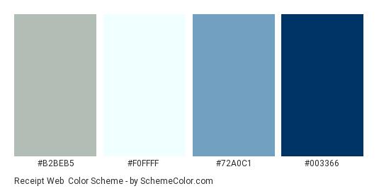 Receipt Web - Color scheme palette thumbnail - #B2BEB5 #F0FFFF #72A0C1 #003366