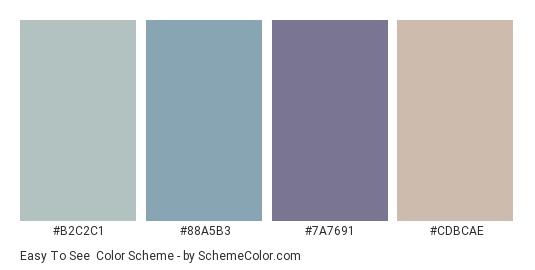 Easy to See - Color scheme palette thumbnail - #B2C2C1 #88A5B3 #7A7691 #CDBCAE