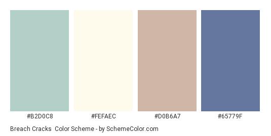 Breach Cracks - Color scheme palette thumbnail - #B2D0C8 #FEFAEC #D0B6A7 #65779F