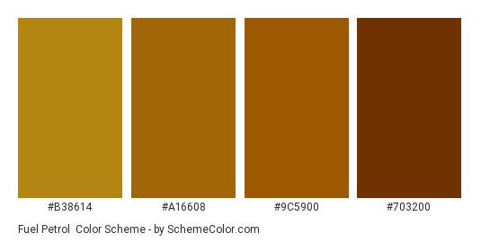 Fuel Petrol - Color scheme palette thumbnail - #B38614 #A16608 #9C5900 #703200