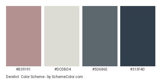 Derelict - Color scheme palette thumbnail - #B39191 #DCDBD4 #5D686E #313F4D