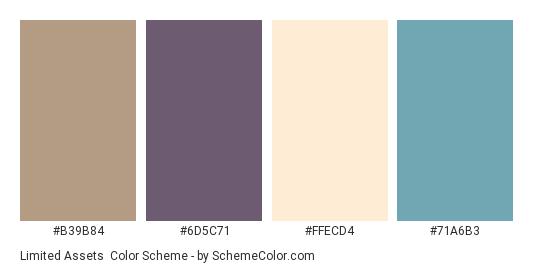 Limited Assets - Color scheme palette thumbnail - #B39B84 #6D5C71 #FFECD4 #71A6B3