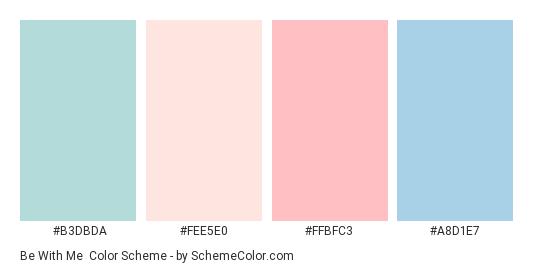 Be With Me - Color scheme palette thumbnail - #B3DBDA #FEE5E0 #FFBFC3 #A8D1E7