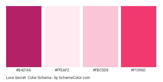 Love Secret - Color scheme palette thumbnail - #B42166 #FFEAF2 #FBC5D8 #F1396D