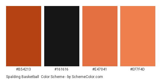 Spalding Basketball - Color scheme palette thumbnail - #B54213 #161616 #E47041 #EF7F4D