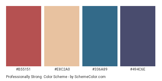 Professionally Strong - Color scheme palette thumbnail - #B55151 #E8C2A0 #336A89 #494C6E