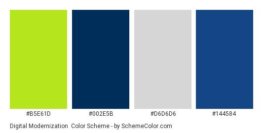 Digital Modernization - Color scheme palette thumbnail - #B5E61D #002E5B #D6D6D6 #144584